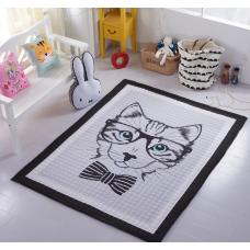 Хлопковый коврик в детскую кошка черно белая