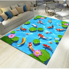 КОВРИК 3D голубой с рыбками