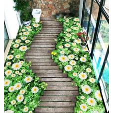 КОВРИК 3D деревянная дорожка и цветы