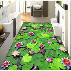 КОВРИК 3D светло зеленые листья лотоса