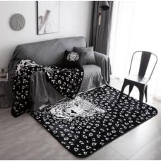 КОВРИК ПЛЮШЕВЫЙ черно белый леопард