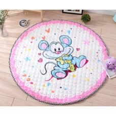 Детский коврик мешок для игрушек хлопковый мышка с сыром