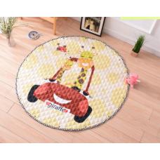 Детский коврик мешок для игрушек хлопковый жираф в машине