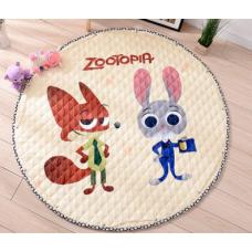 Детский коврик мешок для игрушек хлопковый Зверополис
