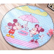 Детский коврик мешок для игрушек хлопковый МИККИ МАУС И МИННИ МАУС ПОД ЗОНТИКОМ