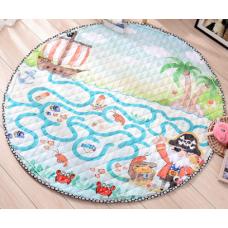 Детский коврик мешок для игрушек хлопковый КОРАБЛЬ И ПИРАТЫ