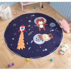 Детский коврик мешок для игрушек хлопковый КОСМИЧЕСКИЕ ПРИКЛЮЧЕНИЯ