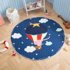 Детский коврик мешок для игрушек хлопковый СЛОНИК НА ВОЗДУШНОМ ШАРЕ