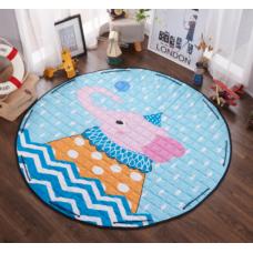 Детский коврик мешок для игрушек хлопковый РОЗОВЫЙ СЛОН