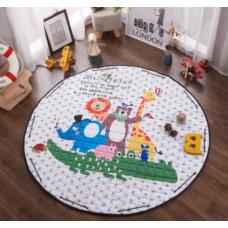 Детский коврик мешок для игрушек хлопковый МИР ЖИВОТНЫХ