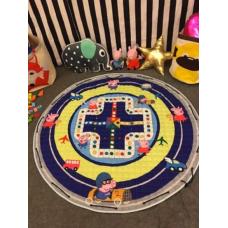 Детский коврик мешок для игрушек хлопковый ДОРОГА И СВИНКА ПЕППА