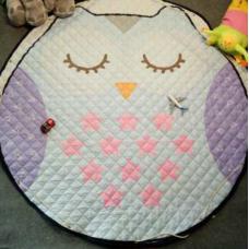 Детский коврик мешок для игрушек хлопковый СОВУШКА