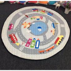 Детский коврик мешок для игрушек хлопковый  ДОРОГА И АВТОМОБИЛИ