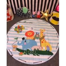 Детский коврик мешок для игрушек хлопковый  ЗООПАРК