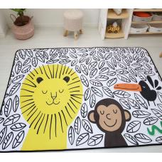 КОВРИК ПЛЮШЕВЫЙ лев и обезьянка