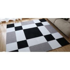 КОВРИК ПАЗЛ С ВОРСОМ серый черный белый