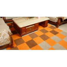 КОВРИК ПАЗЛ С ВОРСОМ коричневый серый оранжевый