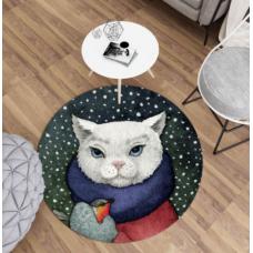 ДЕТСКИЙ КРУГЛЫЙ КОВРИК  белый котик