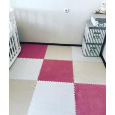 КОВРИК ПАЗЛ С ВОРСОМ бежевый белый розовый