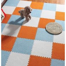 КОВРИК ПАЗЛ С ВОРСОМ оранжевый белый голубой