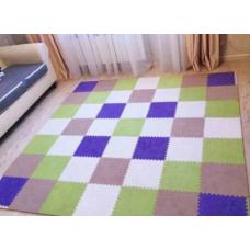 КОВРИК ПАЗЛ С ВОРСОМ коричневый зеленый фиолетовый бежевый