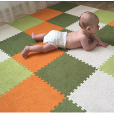 КОВРИК ПАЗЛ С ВОРСОМ оранжевый темно зеленый белый зеленый