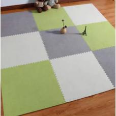 КОВРИК ПАЗЛ С ВОРСОМ белый серый зеленый