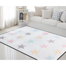 Детский коврик плюшевый звезды цветные