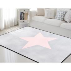 Детский коврик плюшевый звезда розовая