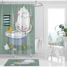 ШТОРКА ДЛЯ ВАННОЙ котик в ванной