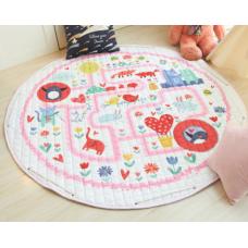 Детский коврик мешок для игрушек хлопковый  лабиринт и дино
