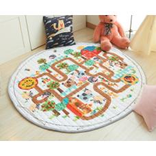 Детский коврик мешок для игрушек хлопковый ферма