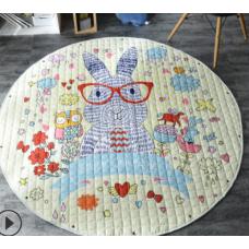 Детский коврик мешок для игрушек хлопковый кролик в очках