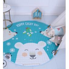 Детский коврик мешок для игрушек хлопковый белые мишки