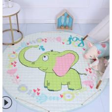 Детский коврик мешок для игрушек хлопковый слоник