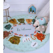 Детский коврик мешок для игрушек хлопковый котики