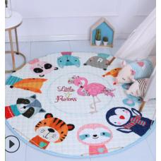 Детский коврик мешок для игрушек хлопковый звери