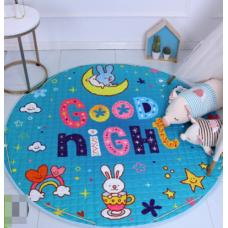 Детский коврик мешок для игрушек хлопковый радуга и зайки