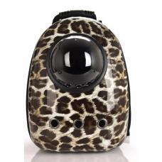 Рюкзак-переноска для кошек и небольших собачек черный леопард