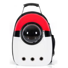 Рюкзак-переноска для кошек и небольших собачек белый с красным