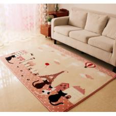 Детский коврик плюшевый котики в Париже розовые
