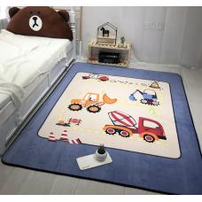 Детский коврик плюшевый бульдозер