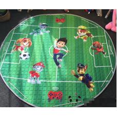 Детский коврик мешок для игрушек хлопковый  щенячий патруль футбольное  поле