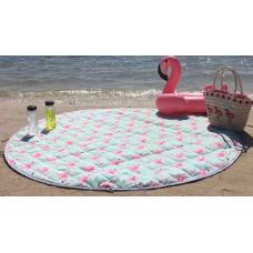 Детский коврик мешок для игрушек хлопковый  водонепроницаемый фламинго