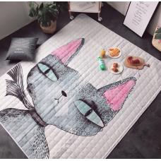 ХЛОПКОВЫЙ КОВРИК В ДЕТСКУЮ  водонепроницаемый котик