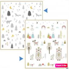 ДЕТСКИЙ ТЕРМОКОВРИК СКЛАДНОЙ КОМПАКТНЫЙ двухсторонний северный лес + мишки
