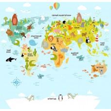 КОВРИК ПЛЮШЕВЫЙ карта мира на русском языке
