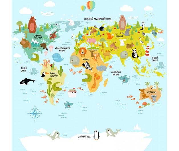КОВРИК ПЛЮШЕВЫЙ карта мира