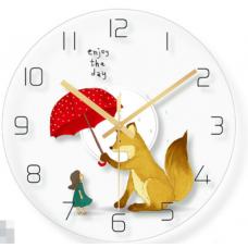 Часы настенные лисичка с зонтиком