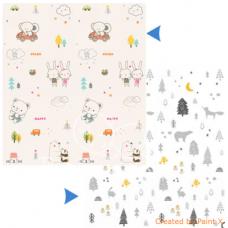 ДЕТСКИЙ ТЕРМОКОВРИК СКЛАДНОЙ КОМПАКТНЫЙ двухсторонний северный лес + мишки и слоники